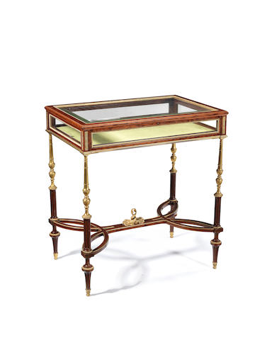 A French 19th century ormolu-mounted mahogany Louis XVI style table vitrineattributed to Henry Dasson, Paris