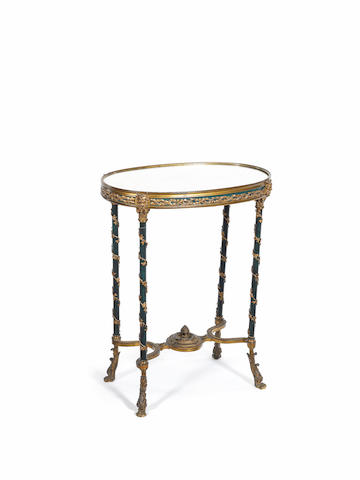 A French mid-19th century Louis XVI style gilt and lacquered bronze guéridon