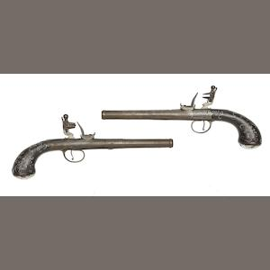 A Pair Of 25-Bore Flintlock Turn-Off Pistols