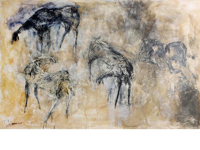 Eran Shakine (Israeli, born 1962) Study of horses (unframed)
