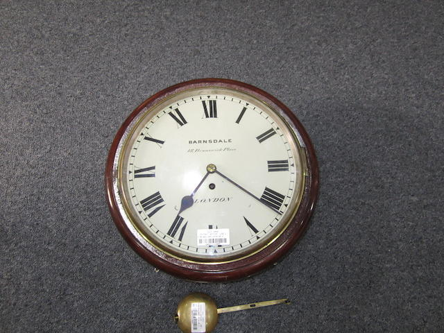 A 19th Century mahogany cased painted dial wall clock, by Barnsdale, 18 Brunswick Place, London,
