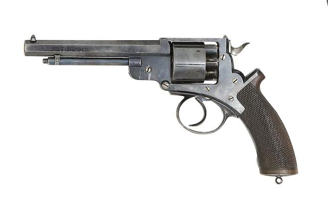 A Very Rare 50-Bore John Adams Patent Six-Shot Double-Action Percussion Revolver