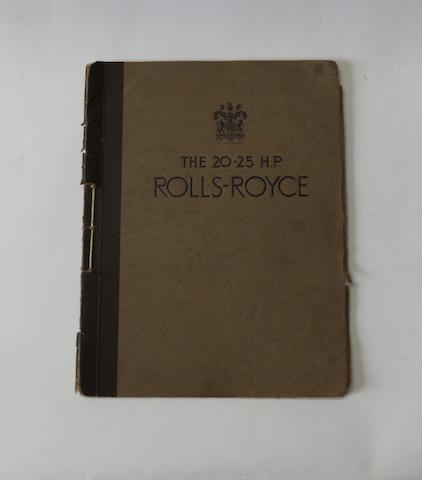 A Rolls-Royce 20/25 H.P sales catalogue, 1930s,
