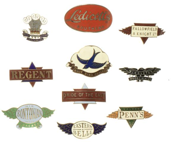 Ten Bus and Coach company driver's enamel cap badges,