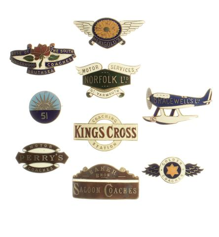 Nine Bus and Coach company driver's enamel cap badges,