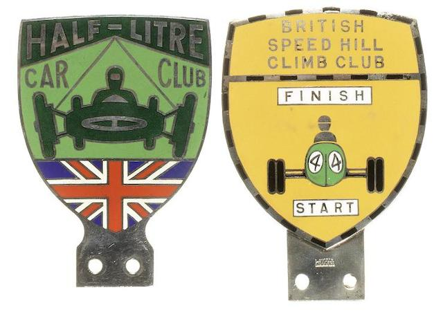 Two British motorsport member's badges by L Simpson of London,