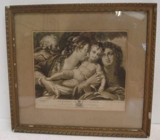 Valentine Green after Camillo Procaccini The Marriage of St Catherine, black and white engraving, 22 x 25cm, an oval hand coloured stipple engraving, head and shoulder study of a young girl, in ornate gilt gesso frame, and a pair of German black and white engravings illustrating scenes from the bible. (4)