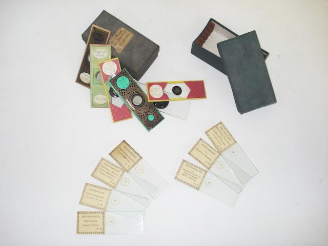 A set of seven Alfred Reeves microphotographs,  English, third quarter of the 19th century,  (qty)