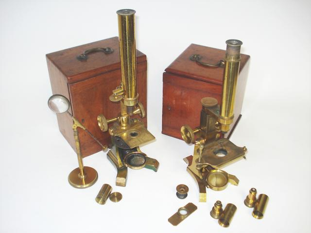 Two student's compound monocular microscopes,  English,  circa 1870,  (2)