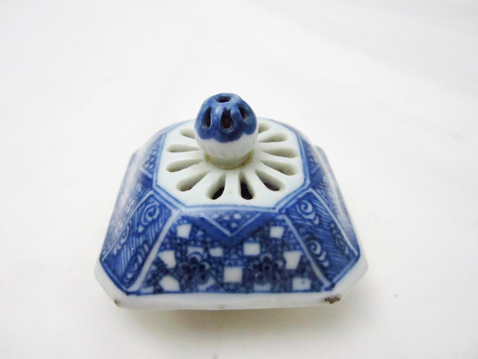 A blue and white reticulated teapot 18th century