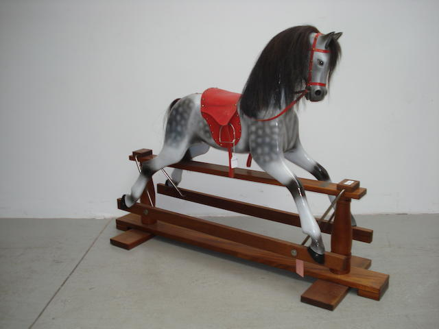 Painted carved wooden Rocking horse