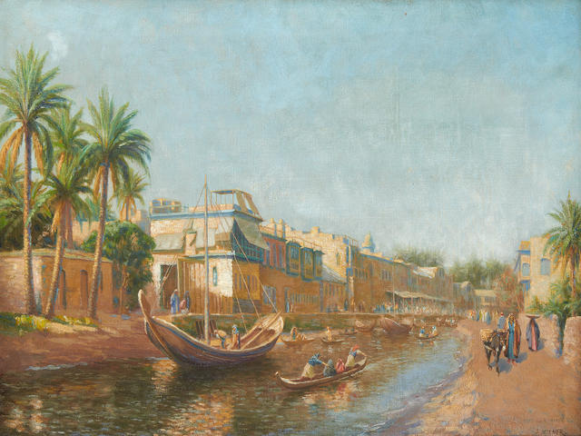 J. Milner (British, early 20th Century) River scene, Basra