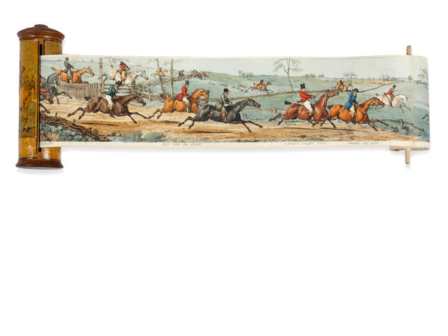 Henry ( Henry Samuel or Henry Thomas) Alken  (British) Panorama of a fox hunt, with entitled scenes, handcoloured lithograph on wove paper probably published by R.Ackermann London circa 1830s  11cm wide x 325cm.