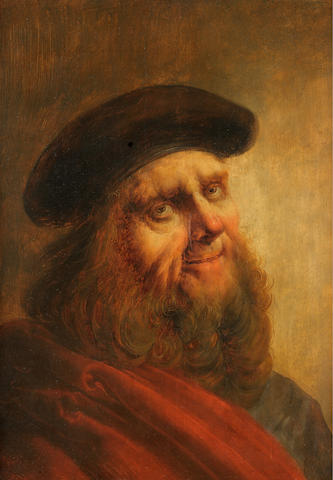 Jan van de Venne (Mechelen ? -circa 1651 Brussels) Portrait of an elderly man, half-length, in a red robe and black hat