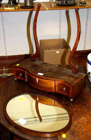 A George III mahogany serpentine front swing toilet mirror,