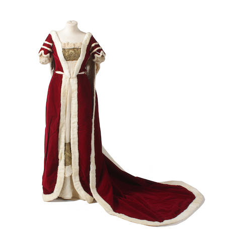 A Peeress' Coronation robe, skirt and bodice, possibly for the 1902 Coronation of Edward VII