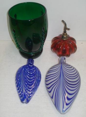 Two Nailsea style glass flasks, mottled swags in blue and white, 23cm & 18cm respectively and other items of glassware.