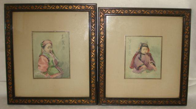 Chinese School, circa 1920 Studies of two children in traditional costume,  11 x 10cm, the backs with Hong Kong framers label.