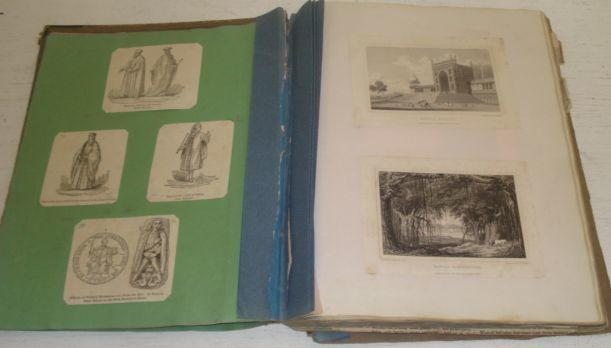 An early - mid 19th Century album of engravings, pasted down, newspaper cuttings, watercolour and hand written verse, worn half leather with marbled boards.
