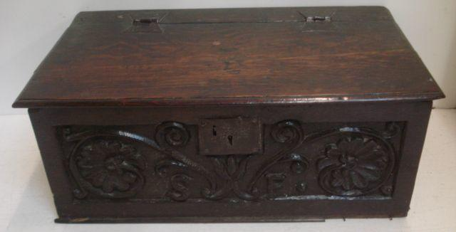 An oak bible box,