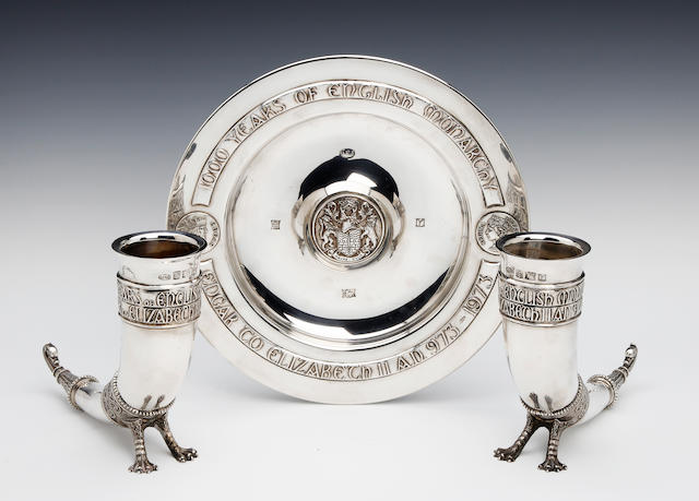 1000 years of English Monarchy; A commemorative silver dish and two goblets by A.E. Jones, Birmingham 1973