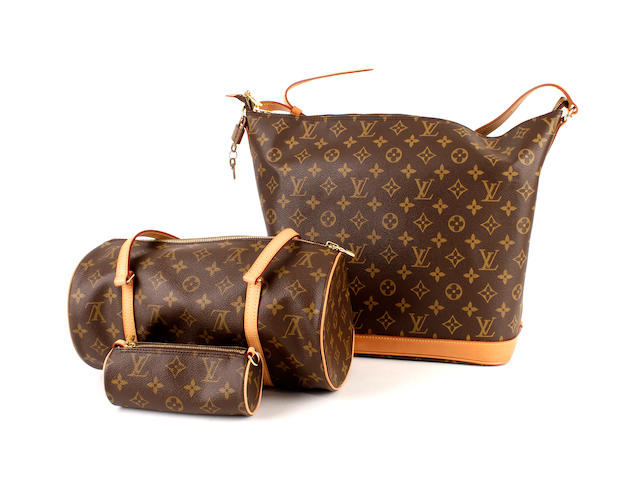 Two Louis Vuitton brown monogram leather bags