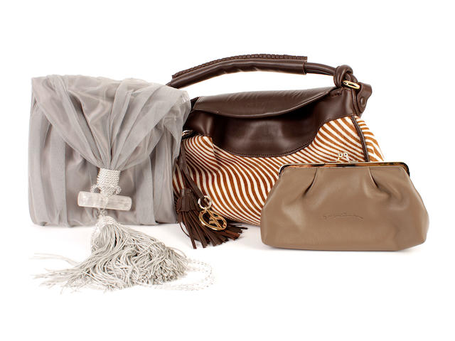 An Armani brown zebra print bag, a grey evening bag and a brown clutch bag