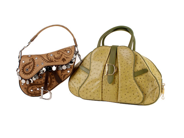 Two Dior bags - one green ostrich, the other a brown embroidered sadlebag (2)