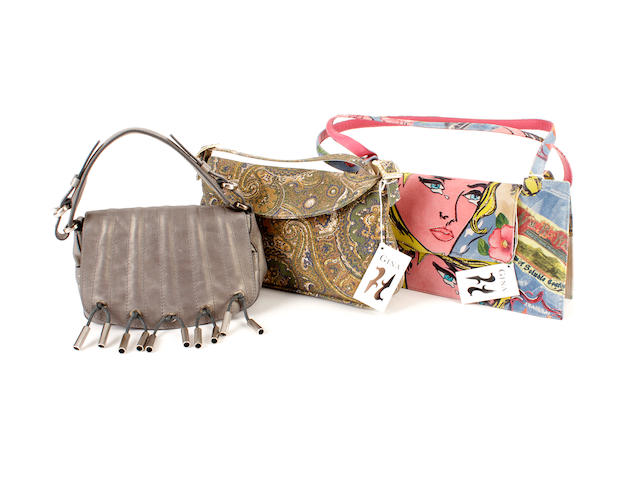 Three designer bags - two printed Gina bags and one Donna Karan bag (3)