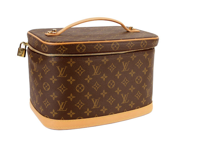 A Louis Vuitton brown and tan monogram vanity case
