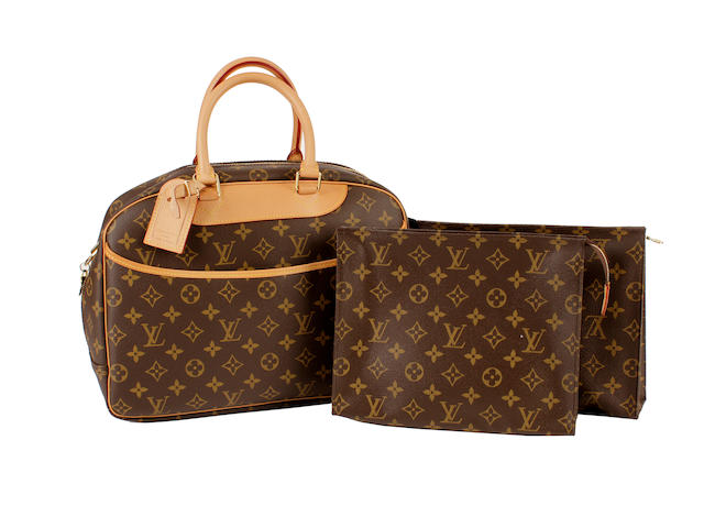 A Louis Vuitton brown and tan monogram handbag and other items
