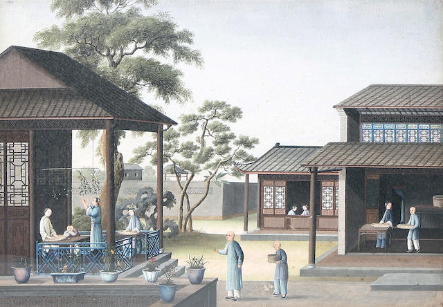 Chinese School, 19th Century Drying and sorting cotton