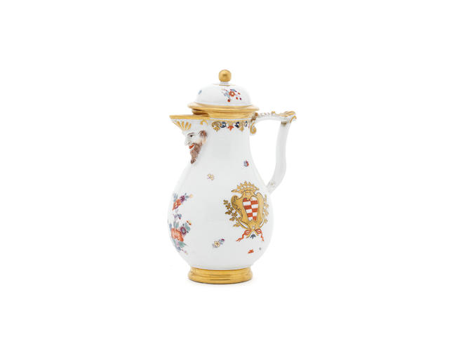 A Meissen armorial coffee and tea service circa 1730