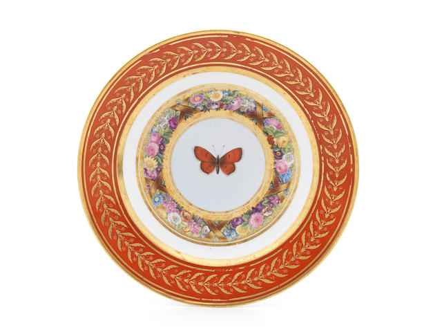 A Sèvres plate from the 'Service Marly rouge', circa 1809