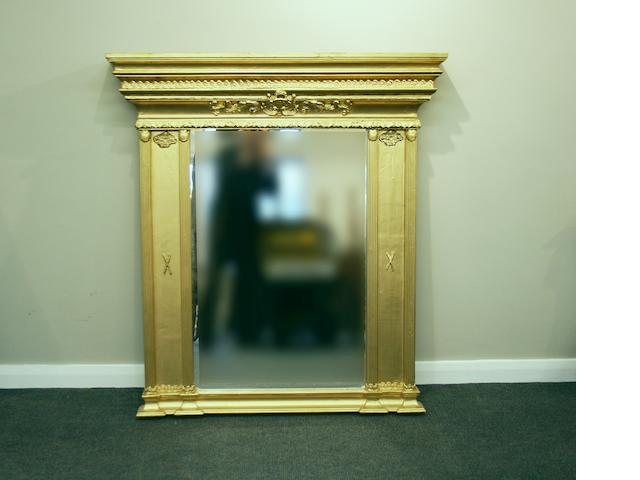 An Empire-style giltwood-framed overmantel mirror
