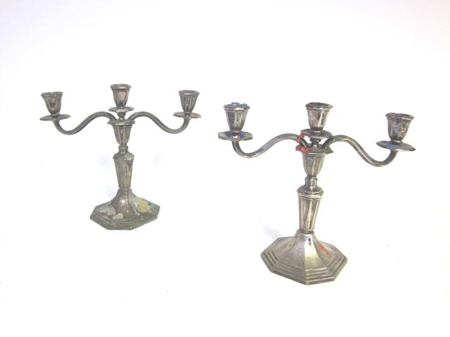 A pair of 20th century Danish  silver candelabra by P. Hertz, assay master Jens Sigsgaard, Copenhagen 1948  (2)