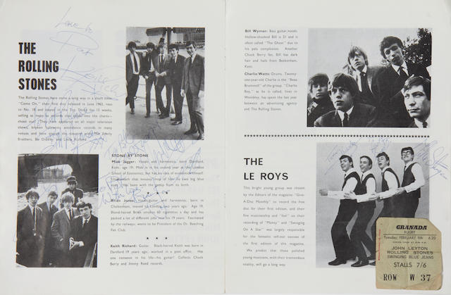 The Rolling Stones: An autographed Rolling Stones concert programme and other items,