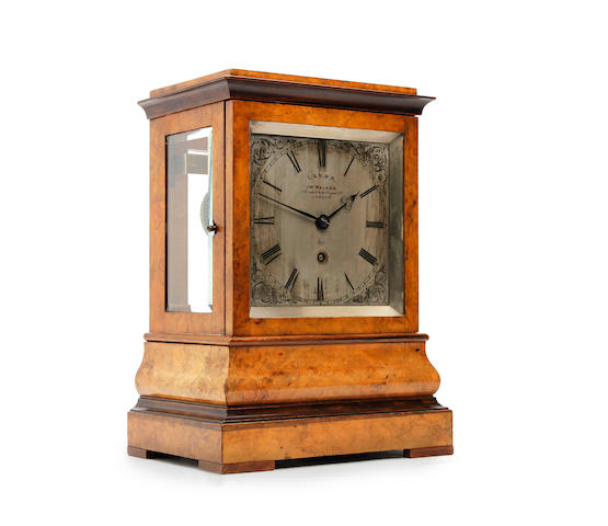 A rare third quarter of the 19th century burr walnut L & N.W.R. railway station mantel/bracket clock Jonathan Walker of Regent Street London no.(5221)