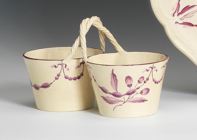 A rare Wedgwood creamware double cream pail, circa 1770