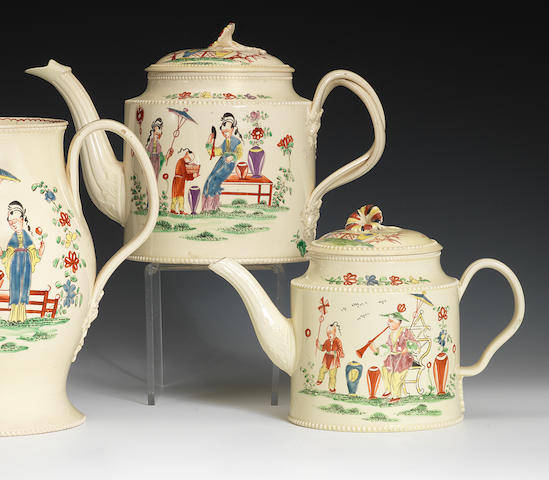 Two creamware teapots and covers, circa 1780