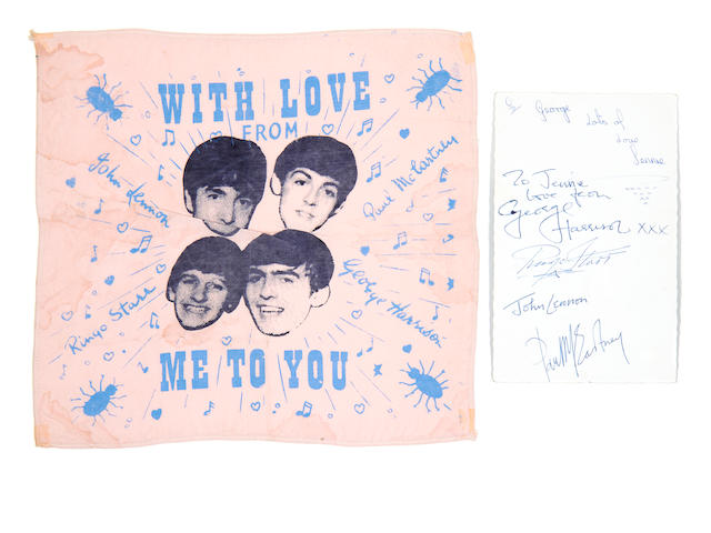 George Harrison/ The Beatles: A Beatles publicity card autographed by George Harrison and a 'Beatles' handkerchief,