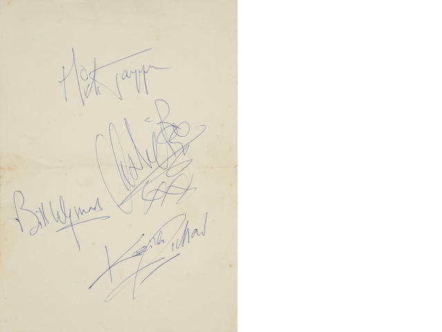 The Rolling Stones: A set of autographs, circa 1964,
