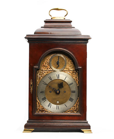 An early George III style walnut cased twin-fusee bracket clock  John Hunt, Oxford