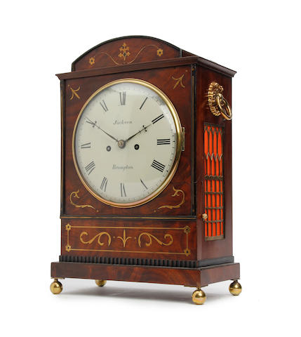 A Regency figured mahogany bracket clock with inlaid brass decoration and pull repeat Jackson, Brompton