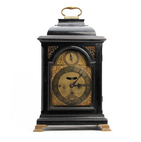 An mid 18th century ebonised musical bracket clock Daniel Vauguion, London