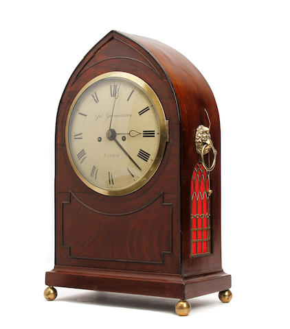 A Regency mahogany lancet top bracket/mantel clock with alarm and pull repeat John Garmonsway, London,