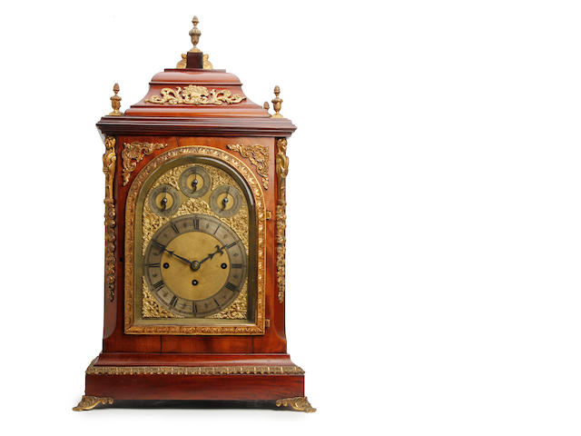 An imposing late 19th century mahogany three-train musical bracket clock. Anonymous