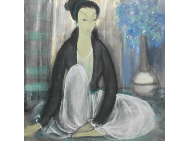 Lin Fengmian (1900-1991) Seated Lady with Flowers