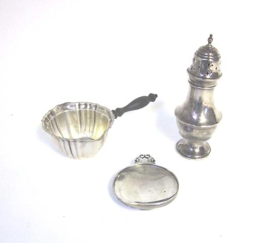 A Danish silver bonbon dish designed by Johan Rohde for Georg Jensen, incuse stamped Dessin, Denmark Sterling 741 A together with a sugar caster, an oval dish, a brandy suacepan and a blue and enamel bowl   (5)