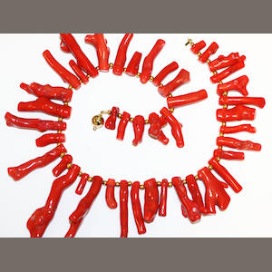 Two coral necklaces,